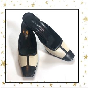 Via Spiga Black&White slip on heels pumps     (C5)